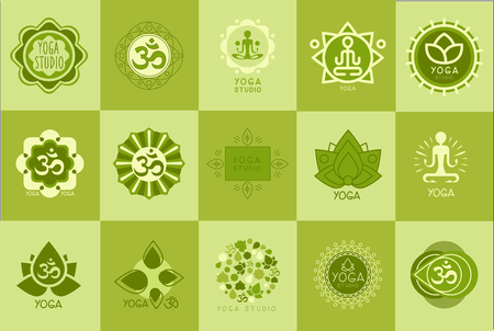 Collection of yoga studio logos design template, green emblem for meditation class, sport, fitness center vector Illustration, web design