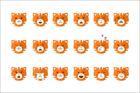 Cute cat emoticons set, funny kitten emoji with different emotions vector Illustrations isolated on a white background. Banco de Imagens - 100129973