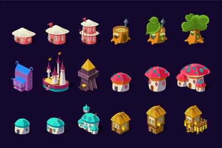 Collezione di edifici colorati per il gioco per cellulare online. Case fatate dei cartoni animati a forma di alberi e funghi. Castello della principessa carino. Risorse di gioco. Icone di vettore piatto isolate su sfondo viola.