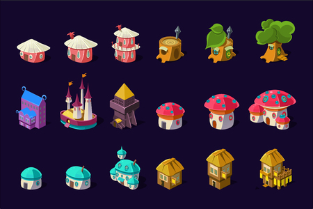 Collection of colorful buildings for online mobile game. Cartoon fairy houses in shapes of trees and mushrooms. Cute princess castle. Gaming resources. Flat vector icons isolated on purple background.
