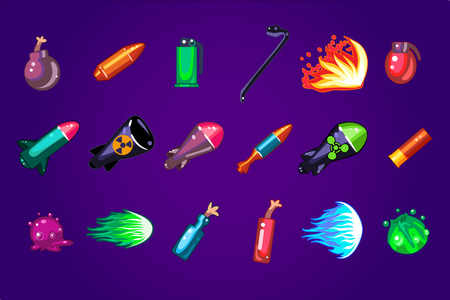 Collection of cartoon assets for mobile game. Dangerous explosives. Missile bombs, dynamite, Molotov cocktail, cartridge, bullet. Gaming resources. Colorful vector icons isolated on purple background. Banque d'images - 100129976