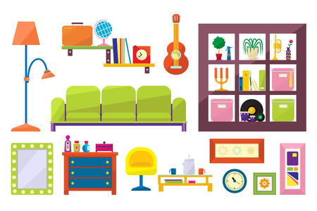 Collection of furniture and interior elements. Sofa, chair, coffee table, floor lamp, chest of drawers and shelves for modern living room. Colorful flat vector icons isolated on white background. Illustration
