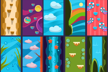 Colorful collection of 10 various vertical backgrounds for online mobile games. Underground and underwater worlds, candy lands, waterfalls, sky and cosmos. Gaming scenes. Flat vector illustrations.