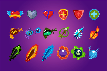 Collection of colorful mobile game assets. Hearts, defense shields, bottles with poisons magic elixirs, arrows, swords and bombs. Gaming resources. Cartoon vector icons isolated on purple background.  イラスト・ベクター素材