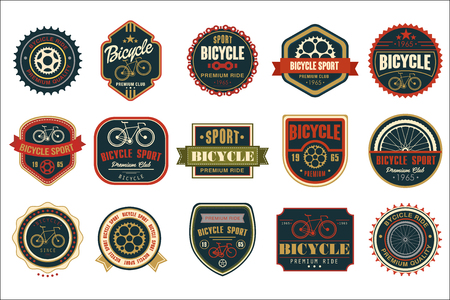 Collection of vintage bicycle logos. Extreme cycling sport. Stylish typographic design for biking club, bike shop or repair service. Original vector emblems. Illustration isolated on white background. Çizim