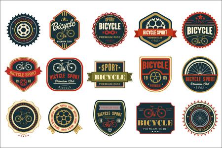 Verzameling van vintage fietslogo's. Extreme wielersport. Stijlvol typografisch ontwerp voor fietsclub, fietsenwinkel of reparatiedienst. Originele vector emblemen. Illustratie geïsoleerd op een witte achtergrond. Logo