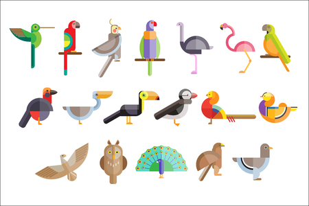 Colorful set of different birds. Pelican, owl, toucan, eagle, peacock, parrot, falcon, flamingo, pigeon, pheasant. Wild creatures Icons in geometric flat style Vector illustration isolated on white