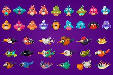 Kolekcja ptaków kreskówek. Śmieszne stworzenia z dużymi błyszczącymi oczami. Zasoby do gier. Kolorowe elementy graficzne interfejsu gry komputerowej lub mobilnej. Płaskie wektor ilustracja na białym tle na fioletowym tle