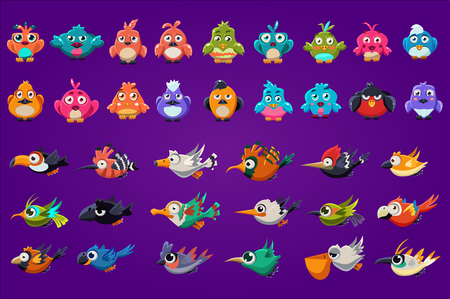 Sammlung von Comicvögeln. Lustige Kreaturen mit großen glänzenden Augen. Gaming-Assets. Bunte grafische Elemente für Computer- oder Handyspieloberfläche. Flache Vektorillustration lokalisiert auf lila Hintergrund