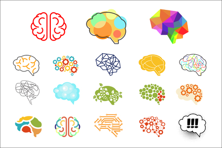 Human brains in various styles. Mind icons set. Graphic elements for logo, web site, app, print, presentation, advertising poster or banner. Colorful vector illustration isolated on white background.