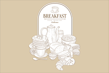 Hand drawn illustration of tasty breakfast and frame with place for text. Pancakes, tea, juice, bread, croissant, porridge, half of lemon and apple. Vintage vector design for cafe or restaurant menu. Ilustração