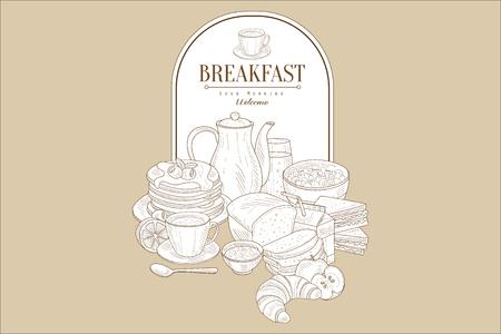 Hand drawn illustration of tasty breakfast and frame with place for text. Pancakes, tea, juice, bread, croissant, porridge, half of lemon and apple. Vintage vector design for cafe or restaurant menu. Illustration