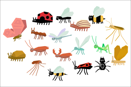 Cartoon collection of various funny insects. Flat vector icons, isolated on white background. Illustration