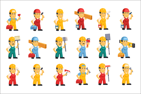 Set of men in working overalls and protective helmets with different equipment for repair and construction. flat vector design. Illusztráció