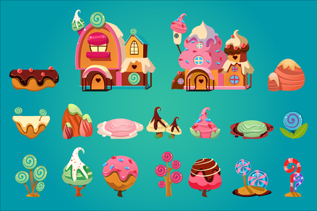 Set of sweet landscape elements for fantasy computer or mobile game. Cartoon vector icons. Illustration