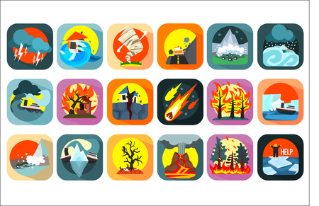 Icons set of natural disaster, catastrophe and crisis situations. Forest fire, asteroid, storm, hurricane, snow avalanche, flood, volcanic eruption, drought, earthquake, tsunamis. Flat vector