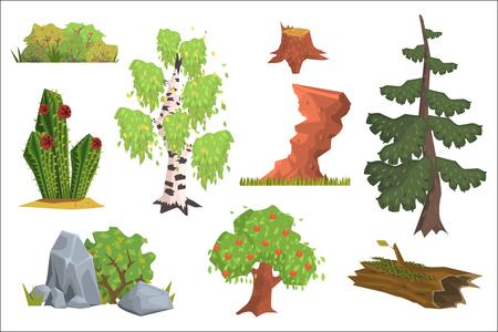 Flacher Vektorsatz von Naturelementen. Apfelbaum, Birke, Kaktus, Büsche mit Beeren, Tanne, Steine, alter Baumstumpf, Felsen, Baumstamm mit Moos. Cartoon-Design für Gaming-Schnittstelle Vektorgrafik