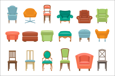 Collection of different types seating in cartoon illustration in white background.