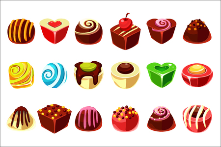 Set of tasty candies with various filling. Delicious chocolate sweets in different shapes.