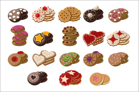 Flat vector set of tasty fresh-baked cookies with different flavours.