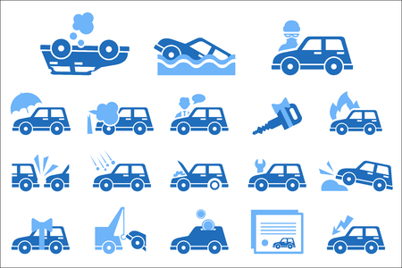 Set of icons on vehicle insurance theme. Safety and protection of car in monochrome illustration.