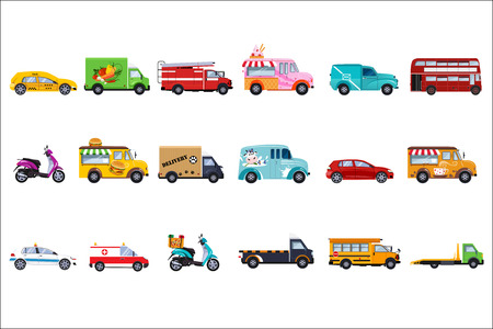 Collection of service vehicles in cartoon illustration in white background. Illustration