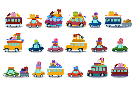 Collection of colorful cars, buses and vans in cartoon illustration in white background.