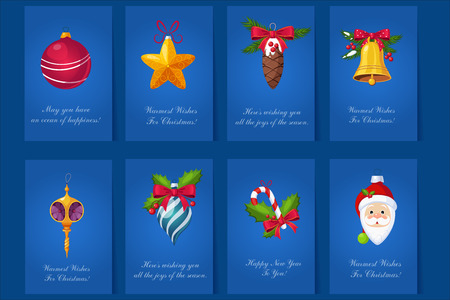 Set of 8 greeting cards for Christmas and New Year with various design.