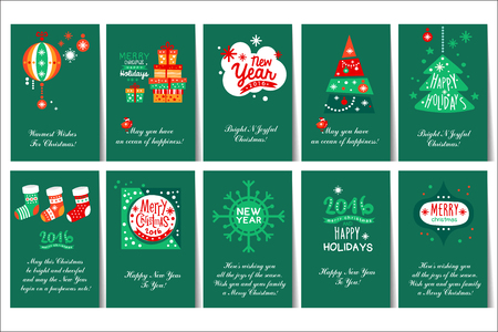 Collection of 10 Christmas and New Year greeting cards with various design. Illustration