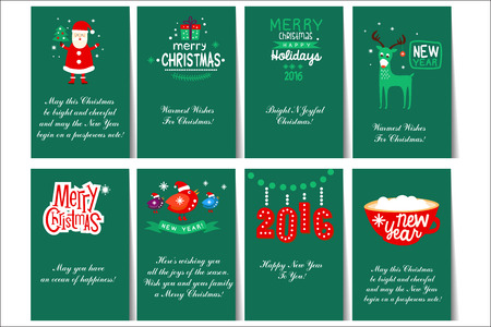 Collection of 8 card templates for Christmas and New Year cards with different designs Иллюстрация