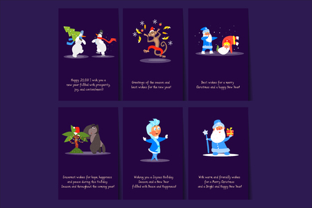 Collection of six Merry Christmas and Happy New Year flat vector cards. Colorful postcards with snowmen, monkey, Santa Clauses, Snow Maiden and gorilla. Cartoon illustrations with funny characters.