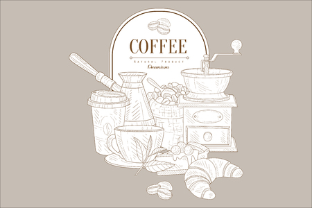 Hand drawn vector design of coffee and sweet desserts. Illustration