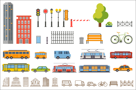 Collection of city construction for architectural and kids activities.