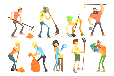 Cartoon men and women cleaning in house and outdoors in colorful flat vector illustration isolated on white background. Standard-Bild - 100357850