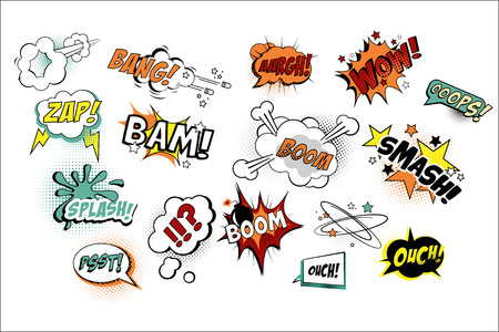 Set of speech bubbles in pop art style with text.