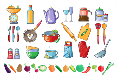 Collection of kitchen utensils and fresh vegetables. Tools and ingredients for cooking. Drinks and home made food theme. Colorful detailed icons. Vector illustrations isolated on white background.