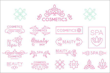 Collection of linear spa and cosmetics logo templates with natural elements leaves and flowers. Design for product label, beauty shop or salon. Vector illustrations isolated on white background.
