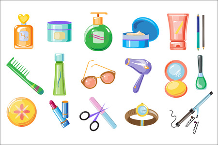Set of women accessories, skincare and hygiene products. Bathroom cosmetics, perfume, comb, sunglasses, lipstick, wristwatch. Cartoon style icons. Colorful flat vector illustration isolated on white.
