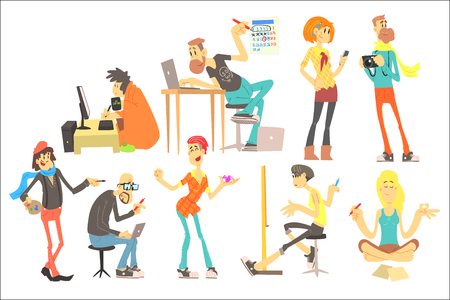 Set of cartoon creative people. Programmer, artist, illustrator, designer, photographer, writer, model, freelancer. Young men and women. Colorful flat vector illustration isolated on white background