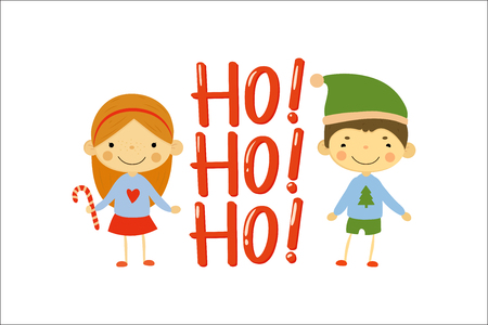 Cute little girl and boy dressed in holiday sweaters. Happy New Year and Merry Christmas theme. Cartoon children characters. Ho-ho-ho Design for greeting card. Colorful flat vector illustration. Illustration