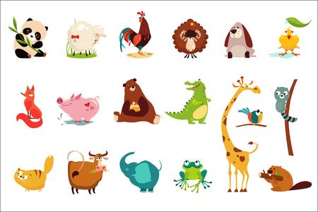 Bunter Satz von lustigen verschiedenen Tieren. Panda, Schaf, Widder, Frosch, Entlein, Hahn, Fuchs, Schwein, Bär, Krokodil, Giraffe, Katze Kuh Elefant Frosch Biber Waschbär Papagei Cartoon flache Vektor-Design Vektorgrafik