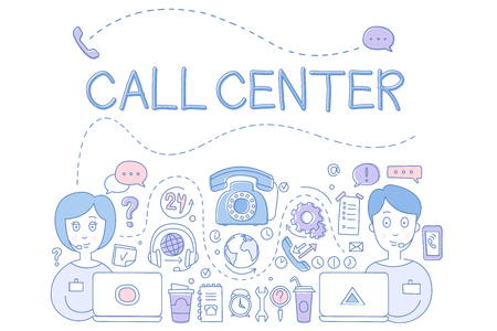 Call center customer service theme. Icons related to online support phone, operators, headphones, wrench, laptop. Hand drawn sketch design. Elements for website. Vector illustration isolated on white