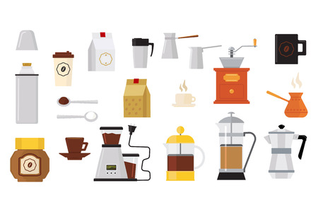 Collection of icons on coffee theme. Equipment for barista coffee grinder, teapots with hot drinks, turk, cups, spoons. Objects for cafe poster. Flat vector illustration isolated on white background.