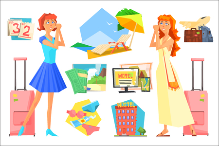 Two women in anticipation of vacation. Planning summer holiday. Calendar, beach accessories, luggage, airplane, hotel, resort, chaise longue. Cartoon people characters. Colorful flat vector set
