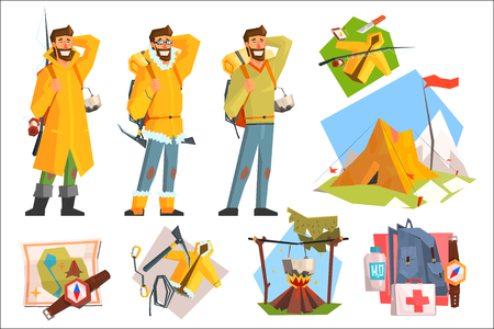 Man dressed as camper, fisher and climber. Camping, fishing and climbing equipment. Active lifestyle. Tent, compass, map, first-aid kit. Angling and mountain hike items. Isolated flat vector set. Illustration