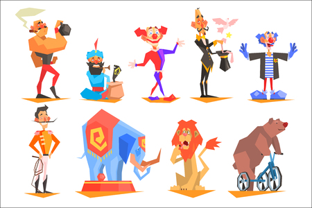 Set of funny circus characters clown, magician, acrobat, strongman, snake charmer, tamer and trained animals elephant, lion, bear . Colorful flat vector illustration isolated on white background. Illustration