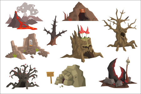 Set of cartoon landscape elements. Volcano with hot lava, ruins, swamp, old trees, cave, scary stump with mushrooms. Graphic design for gaming interface. Flat vector icons isolated on white background