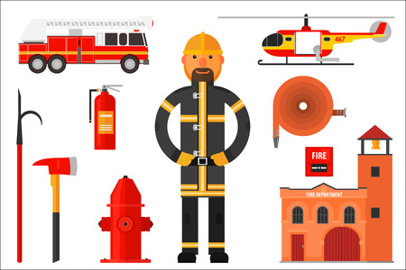 Set of firefighter elements. Fireman in uniform, helicopter, fire engine, extinguisher, axe, hook, hose, fire department, alarm and hydrant. Colorful flat vector icons isolated on white background.