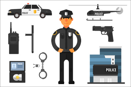 Cartoon collection of police attributes. Officer in uniform, gun, baton, automobile, badge, helicopter, pair of handcuffs, keys, portable radio and building. Flat vector elements for infographic