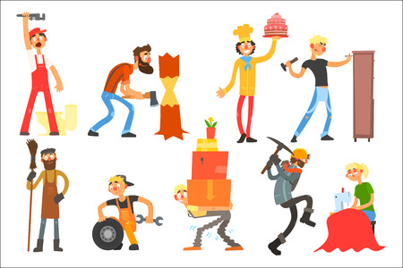 Collection with people of different professions. Plumber, lumberjack, confectioner, furniture maker, janitor, car mechanic, loader, miner, seamstress Professionals at work Flat vector illustration Ilustracja